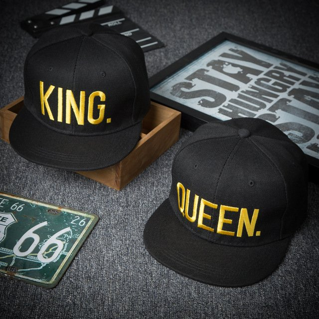 Fashion KING QUEEN Men's Women's Baseball Hat Spring Band King Queen Embroidery Couple Hip-Hop Flat Cap