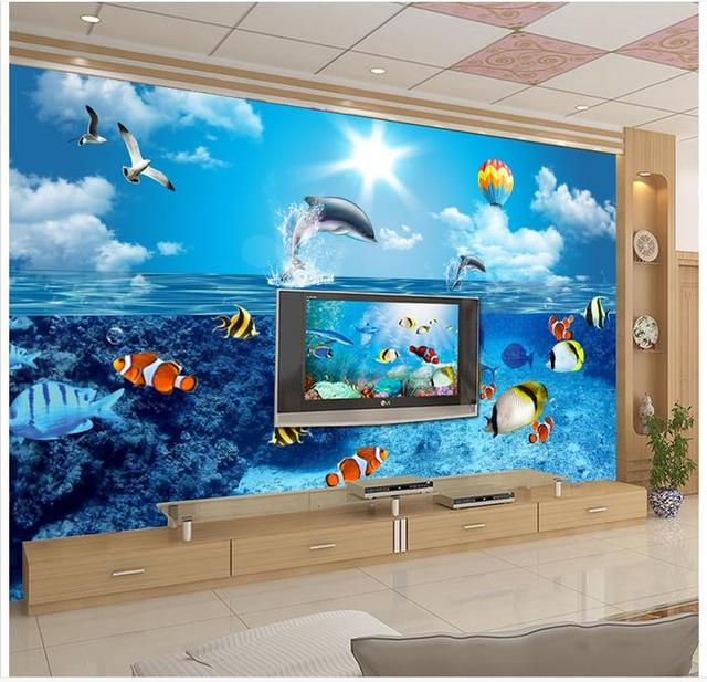 3D wall murals wallpaper custom picture mural wall paper HD Underwater World Dolphin TV Backdrop bedroom background wall decor