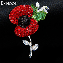 EX-MOON 3pcs Women Poppy Flower Crystal Brooch Pins Fashion Design Silver Color Metal Wedding Brooches Pins Jewelry Accessories