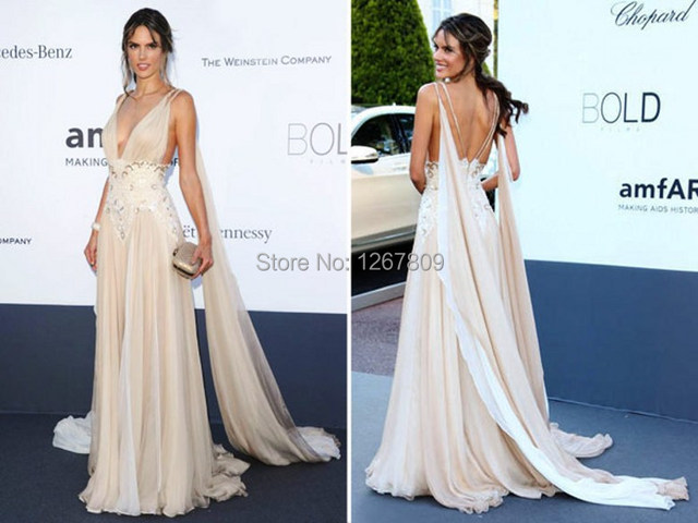 Summer New  Sexy V-Neck Backless Beading Pleat Red Carpet Ammy Awards Chiffon Evening Gowns Celebrity Dress