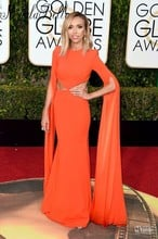 73rd Golden Globe Awards Dresses Giuliana Rancic Celebrity Red Carpet Dress Orange Sexy Mermaid Long Sleeve Evening Gowns