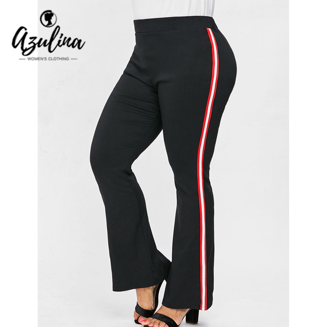 AZULINA Plus Size Striped Flare Pants Women Casual High Elastic Waist Cotton Pants Trousers Women'S Bottoms Big Size Clothing