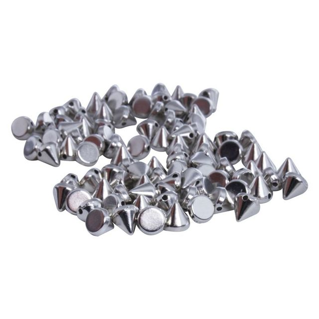 100X ABS plastic Rivets Spikes Silver for Bag Clothing