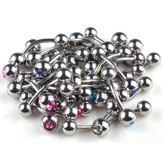 Chic Wholesale 150pcs/lot Ball Body jewelry Crystal Navel Belly Button Bar Piercing gem 10 Colorful
