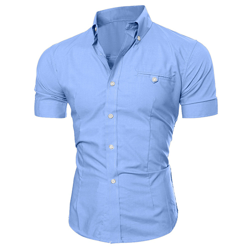 Men Shirt Bussiness Luxury Lapel Button Down Male Short Sleeve Top Blouse Casual Solid Hawaiian Shirt Hit Color Slim Fit Shirts