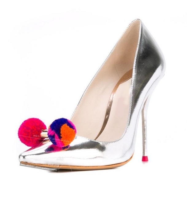 Spring Autumn Pom Pom High Heel Woman Pumps Pointed Toe Slip-on Champagne Shoes Sexy Thin Heels Dress Shoes Drop Ship