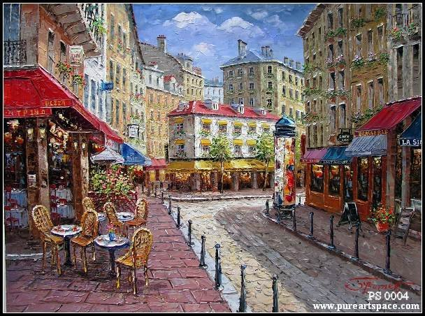 Hand Painted Canvas Knife Oil Painting for Wall Art Decor French Coffee Place Street Paris France Cityscape Art