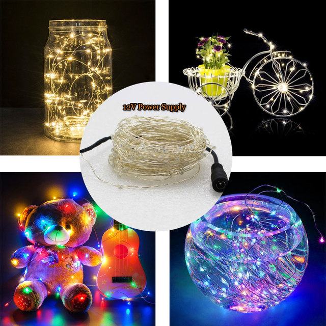 5/10M 50/100Leds LED Fairy Light String Copper Wire DC 12V USB Powered Xmas Wedding Party Fairy Holiday Party Decoration Lamp