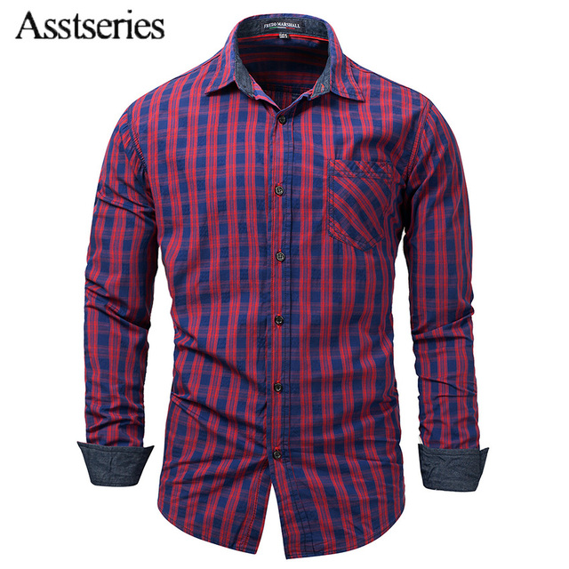 2018 New Men Cotton Brand Shirts Plaid Long Sleeve Casual Brand Slim Fit Turn-down Collar Camisa Social Masculina 50wy