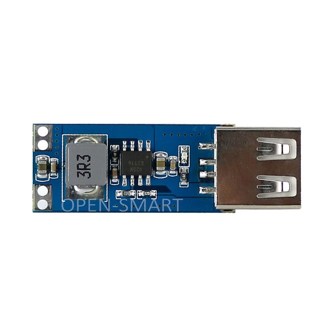 OPEN-SMART Mini DC 2.5~5.5V to USB Socket DC 5V Step-up Boost Converter Power Supply Module - Blue + Silver