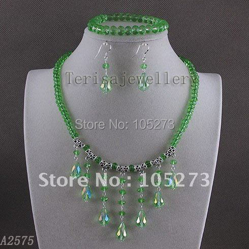 Stunning!crystal jewelry set AA 6x8mm Green crystal necklace&bracelet & earring Wedding jewelry Hot sale free shipping A2575
