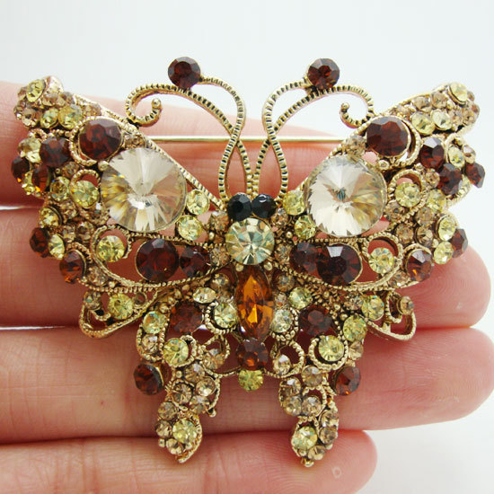 Free Shipping Vintage Pretty Animal Butterfly Art Nouveau Brooch Pin Brown Rhinestone Crystal