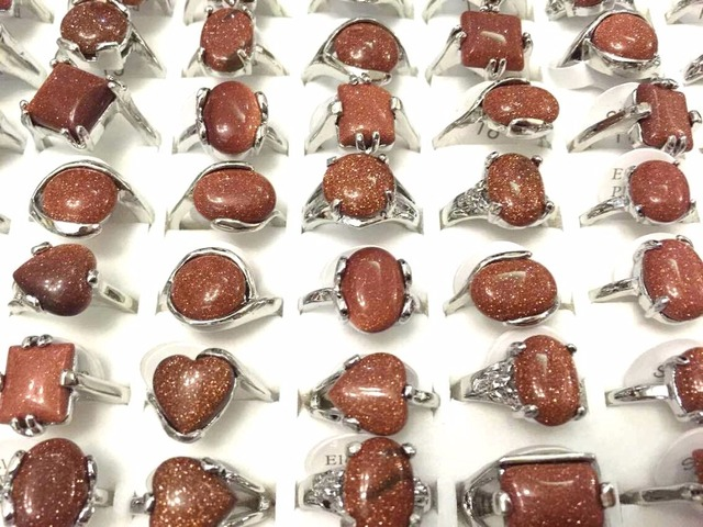 Wholesale 30pcs/lot Fashion mixed Goldstone Rings Assorted Mixed sizes for Women Fashion Jewelry Rings