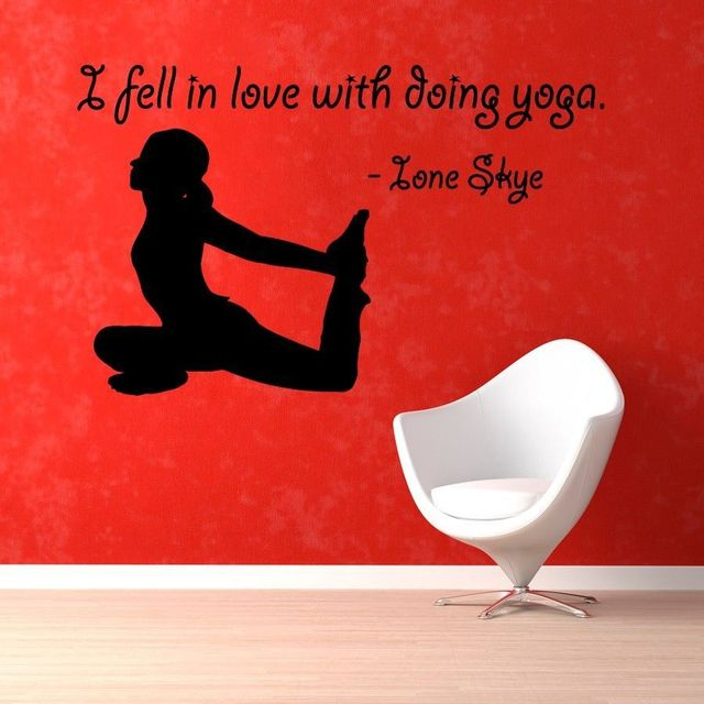 Yoga Vinyl Wall Decal Girl Fitness Gym Yoga Lettering Mural Wall Sticker Yoga Room Sport Wall Sticker Bedroom Home Decoration