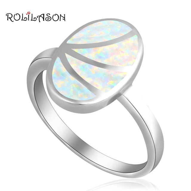 ROLILASON Gorgeous Rings for Women Best Quality White Fire Opal silver color Stamped  Jewelry Rings USA #5#6#7#8#9 OR844