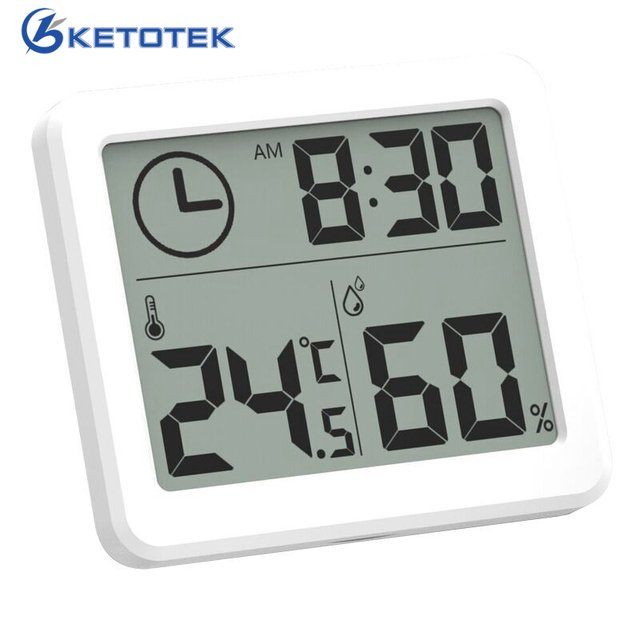 Digital LCD Thermometer Hygrometer Clock Measuring Indoor Temperature Humidity Meter Gauge Tool