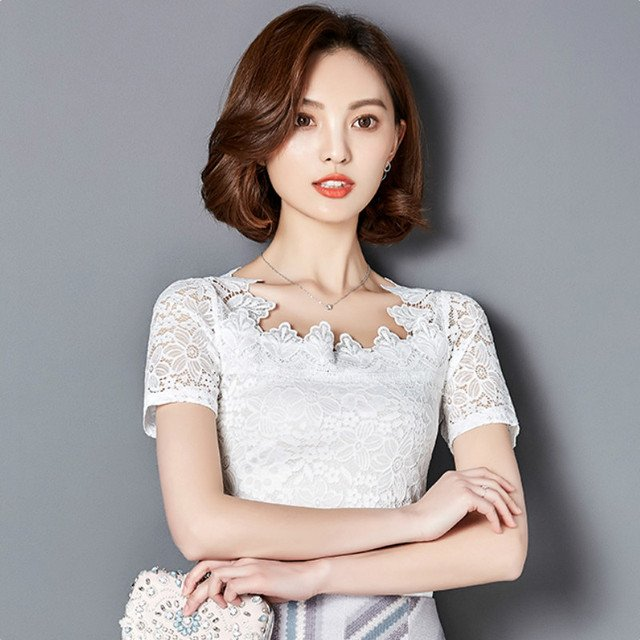 2017 Women sweet lace reffles tops cute short sleeve shirts chiffon patchwork blouses o neck ladies casual brand blusas 918F 30