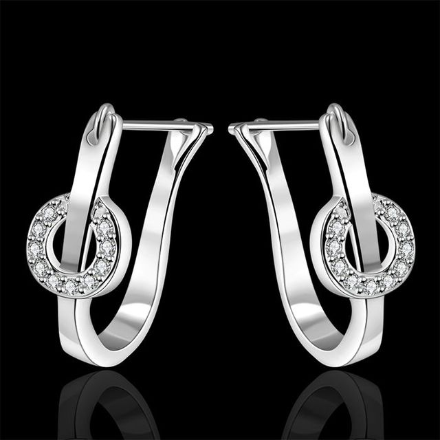 Free Shipping!!Wholesale silver plated Earring,925 jewelry silver,U-Shaped Inlaid Stone Earrings SMTE340