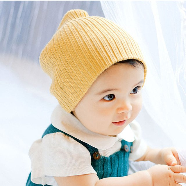 Fashion 2017 New Baby Lovely Candy Color Girls&Boys Toddler Knit Cap Children Beanie Hats 8 Colors