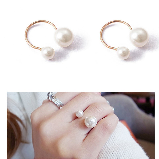 2019 Fashion Imitation Pearl Ring Exaggeration U-shaped Opening Adjustable Rings For Women Statement  Jewelry Party Gift WD348