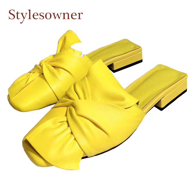Stylesowner newest genuine leather bowtie women half slippers square toe low heel big butterfly knot fashion candy color slides