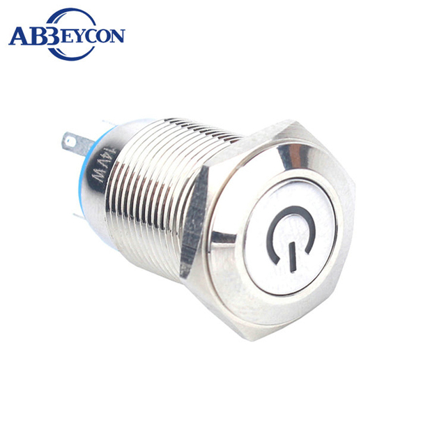 16mm Momentary Led Switch With Power Symbol Led Illuminated Flat Round Head Metal Shell 4 Pin Terminal Push Button Switch