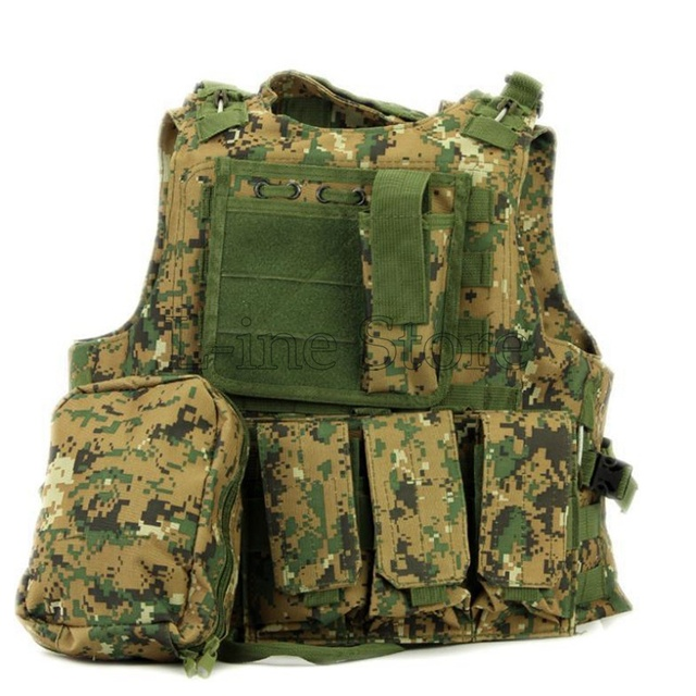USMC Airsoft Tactical Vest Military Molle Combat Assault Plate Carrier Vest Hunting Outdoor Vest Jungle Camo
