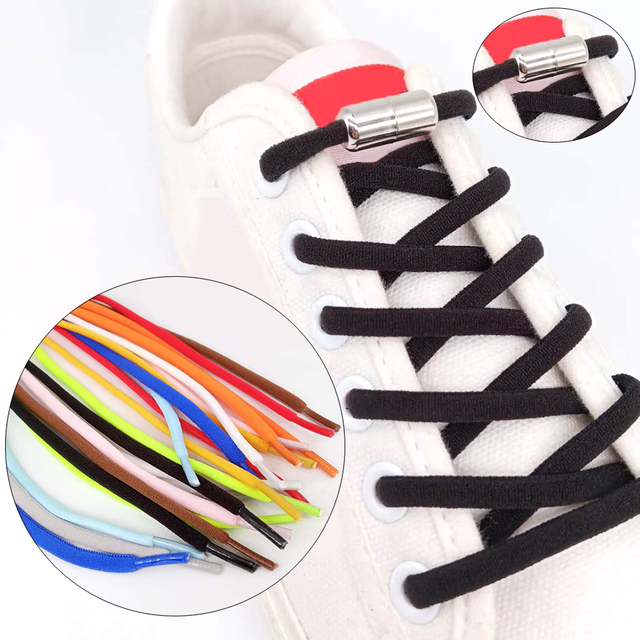 1Pair No Tie Shoelace Elastic Locking Shoelaces Kids Adult quick and easy Semicircle Shoe Lace With Capsule Lazy Shoe Laces