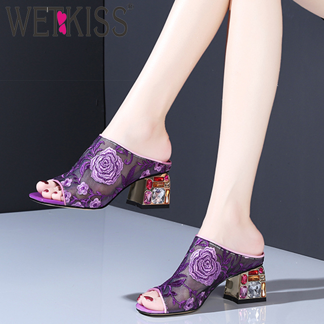 WETKISS Colorful Crystal Heels High Slippers Summer 2020 New Women Slides Shoes Female Mules Shoes Mesh Embroider Shoes Ladies