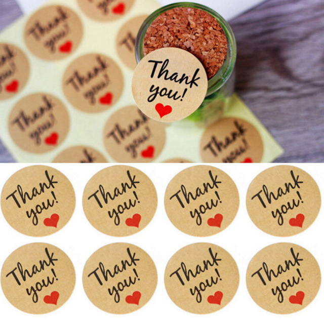 12PCS Heart Thank You Shaped Kraft Paper Stickers Seal Labels Gift Lables Stickers Gift Wrapping DIY Wedding Party Decoration