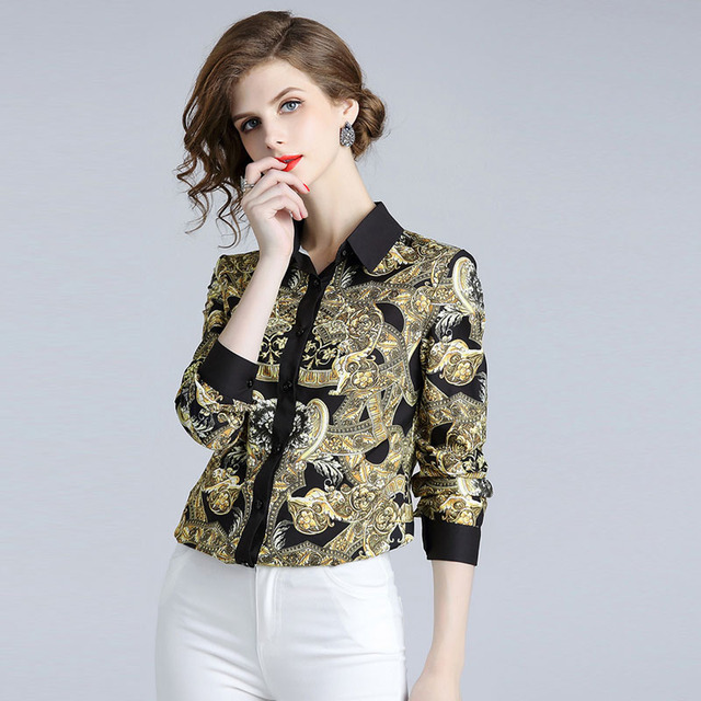 Vintage Blouses for Women 2018 Autumn Europe Fashion Long Sleeve Print Blouses and Shirts Casual Camisa Feminina Womens Tops