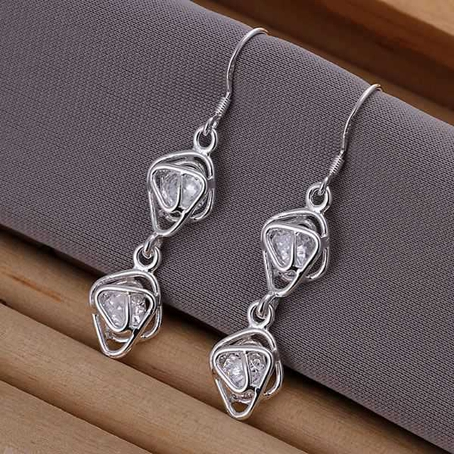 E204 fashion jewelry For Women, 925 jewelry silver plated Inlaid Double Frame Earrings E204 /NJRTITPK DGCIBNLR