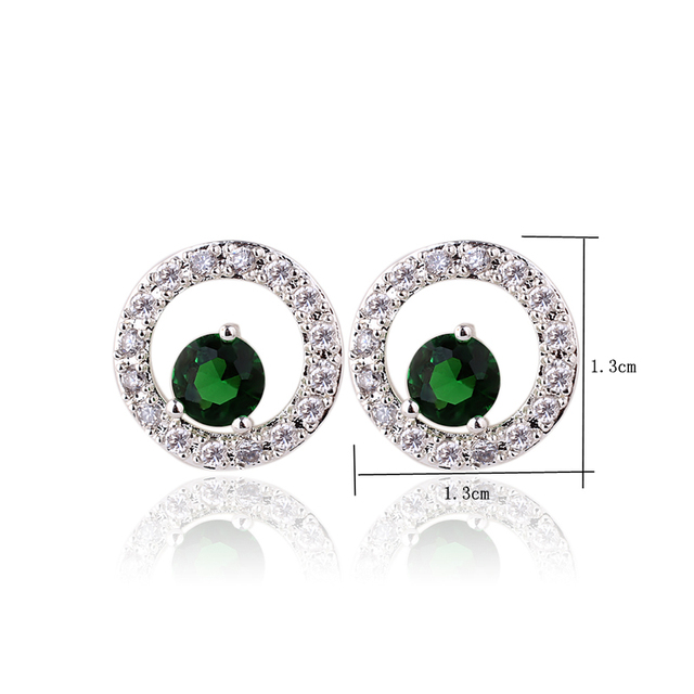 Fashion Jewelry Women Round Circle 925 Silver Stud Earrings with 5mm Round CZ Ear Decoration E093