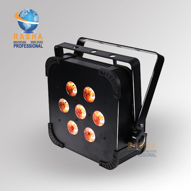 1X Lot Rasha Hot Sale 7*15W 5in1 RGBAW Built In Wireless LED Flat Par Light LED Slim Projector For Event Party Club