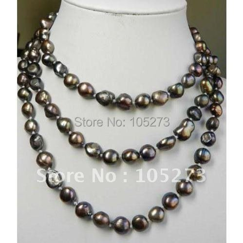 Amazing!pearl necklace 48'inch long necklace AA 8-10MM brown color Freshwater pearl necklace Fashion jewelry Free shipping NF211