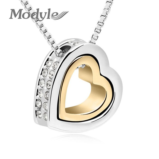 Modyle Brand Gold-Color Austrian Crystal Luxury Brand Heart Necklaces & Pendants Fashion Jewelry for Women 2020