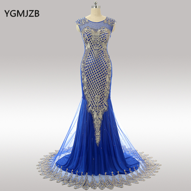 Royal Blue Long Evening Dresses 2020 Mermaid Floor Length Beaded Appliques Lace Elegant Women Formal Party Prom Gowns