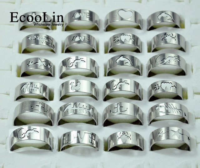 50Pcs Mixed Styles Fashion Men Stainless Steel Rings Wholesale Jewelry Lots Bulk LR117