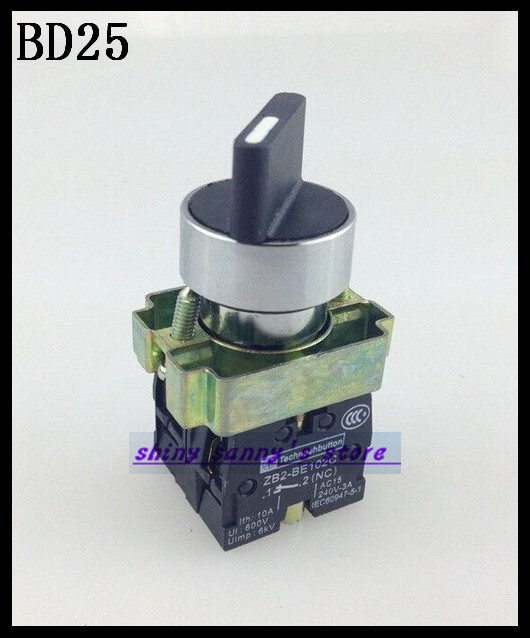 10Pcs/Lot BD25  2 Position NO NC Maintained Select Selector Switch Brand New