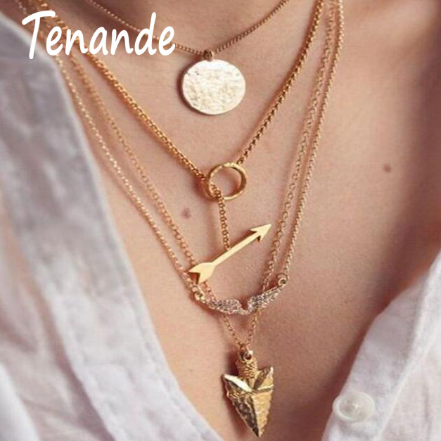 Tenande New Fashion Multi Layer Big Statement Hollow Crystal Sequins Circle Arrow Angel wings Necklaces & Pendants for Women