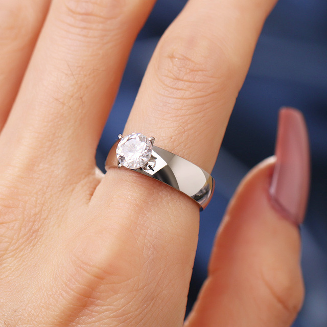 Woiwoi Stainless Steel Rings  Big Silver CZ Zircon Stone Rings for Women Wedding Engagement Jewelry