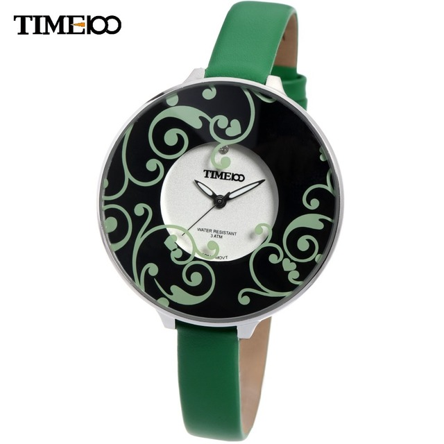 Time100 Fashion Women's Quartz Watches Green Leather Strap Big Dial Luminous Analog Ladies Dress Casual Wrist Watch For Women