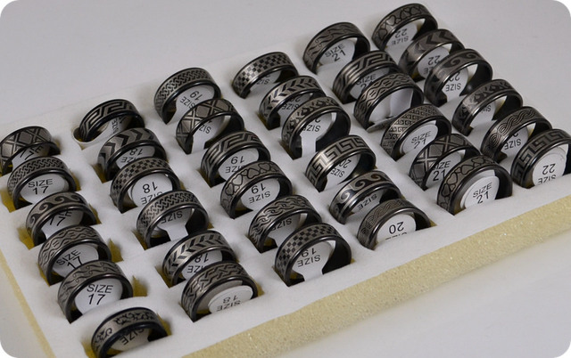36x Mix Black Plated Stainless Steel Rings Men's Women Fashion Jewelry Wholesale