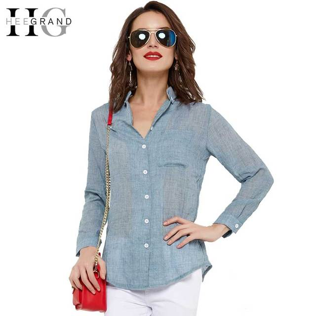 HEE GRAND 2018 Spring White Women Blouses Summer Soft Long Sleeve Shirts Women Solid Blue Turn-down Collar Blouse S-XXL WCL1305