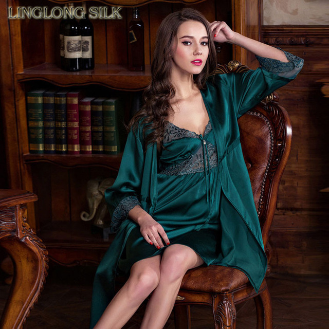 Silk Pajama Robe-707/100% Natural Silk Charmeuse 19 momme/2015 New Summer Style Great Silk Nightdress Set with Beauty Lace