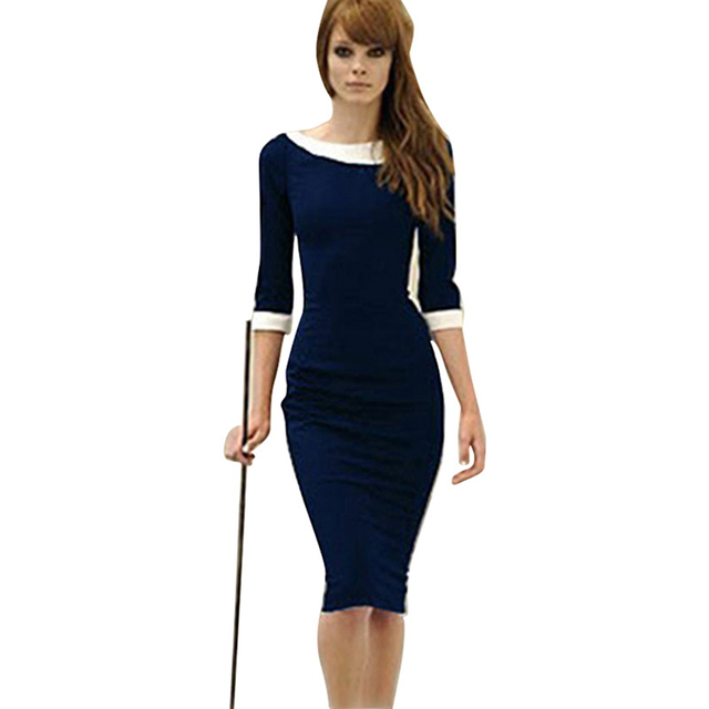 H0090 Free Shipping New Fashion Professional Women Elegant Empire Waist Bodycon Knee-Length Pencil party Dress