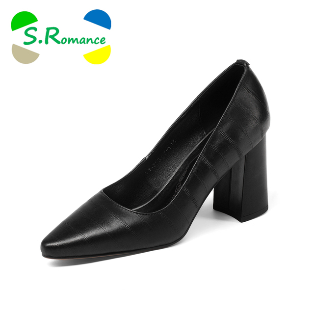 S.Romance Women Pumps 2018 Genuine Leather 34-43 Fashion Slip-On Elegant Pointed Toe Office Lady Woman Shoes Black Brown SH043