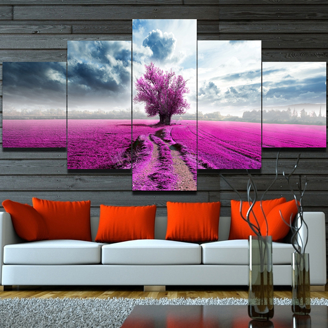 Unframed Wall Painting Purple Red Lavender flowers landscape Modular pictures oil canvas painting art for home living room decor