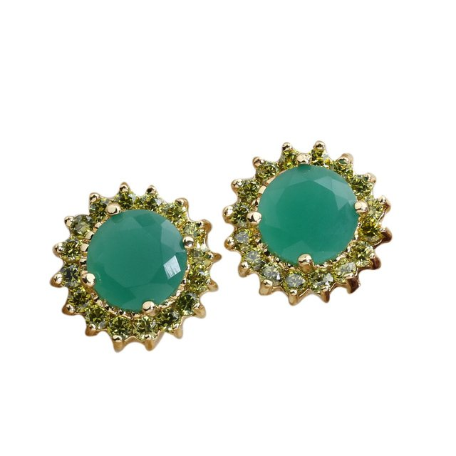 Beautiful Green stone 8*8mm Semi-precious Yellow Gold Filled Cool For Womens Stud Earrings ED0010