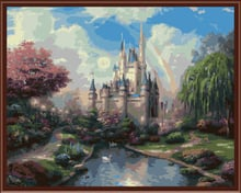 Frameless Wall Art Pictures Painting By Numbers Hand Painted Oil On Canvas Home Decor Of Landscape Dream Castle G106